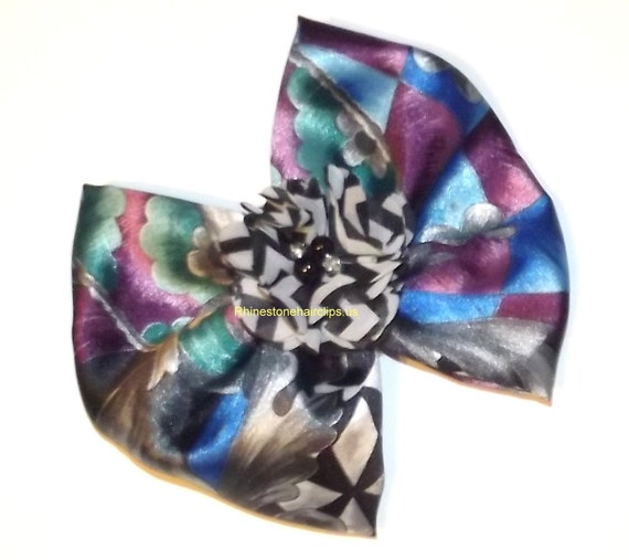 Becky Bows ~OOAK Barrette Hand crafted huge Scarf BIG hair bow Women or Girls giant purple teal black gray