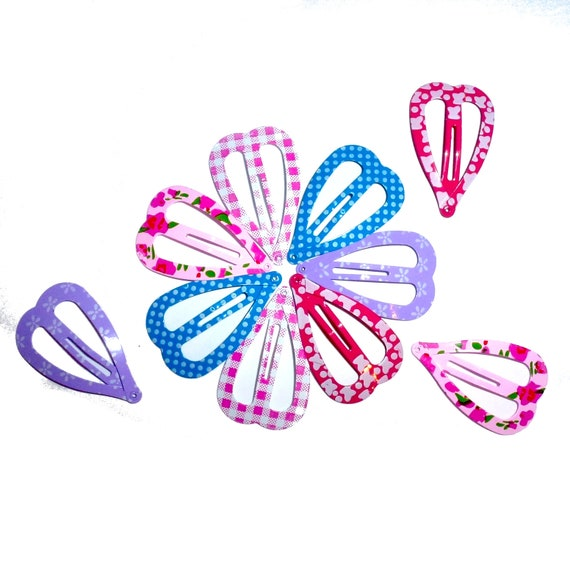 "Puppy Bows ~Barrette snap clip hearts roses 10 per pack polka dots 4cm 1.5""   ~Usa seller"