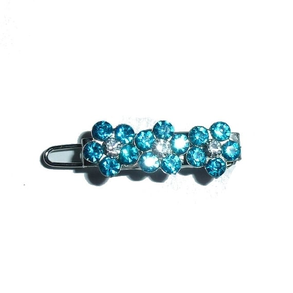Tiny blue crystal bar set rhinestone crown dog bow  pet hair clip topknot barrette