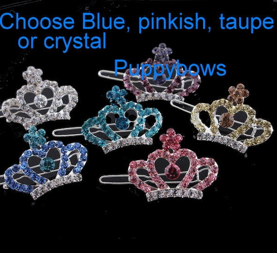 Puppy Bows ~Rhinestone barrette style #37 SMALL CROWN 6 colors! dog bow clip ~USA seller