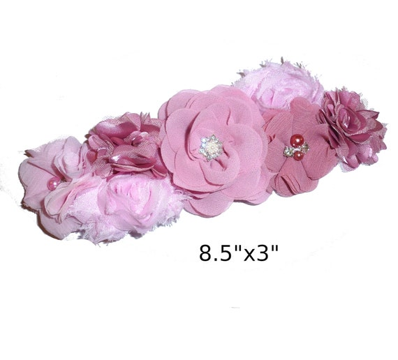 Puppy Bows ~ Extra long dog collar slide  accessory shabby dark rose pink flowers pearls  ~USA seller (P21)