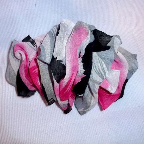 Becky Bows ~  Barrette  chiffon Hand crafted over sized  BIG hair bow Women pink gray black