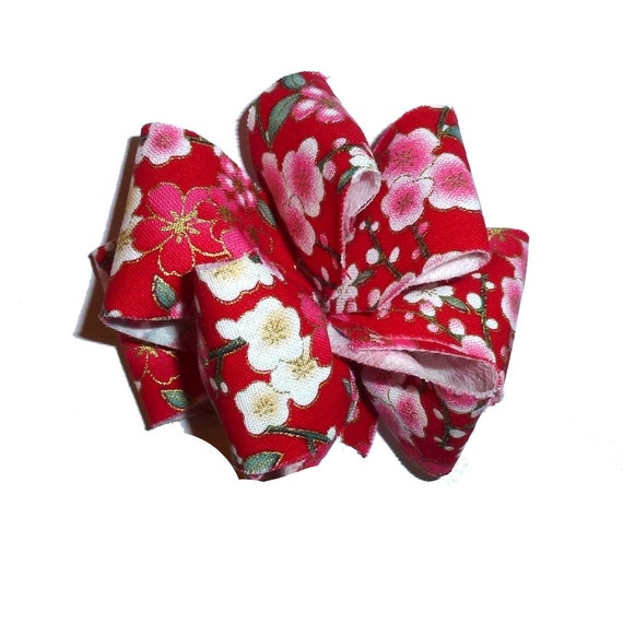 Dog bows  medium sized hair bow or collar bow Japanese cherry blossom red pink dog collar slide bow party puff flower