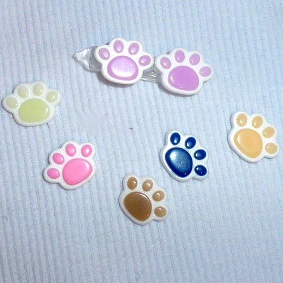 Puppy Bows ~Cotton candy paw prints or dog bone pet hair clip barrette bow  ~USA seller