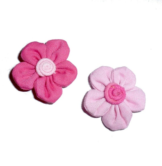 NEW! Fabric daisy flower pink colors  pet hair bow barrettes or bands (fb306)