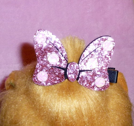 Puppy Bows ~ Minnie cute shiny glittery big dog hair bow lightweight pet hair barrette mouse (fb106)~Usa seller