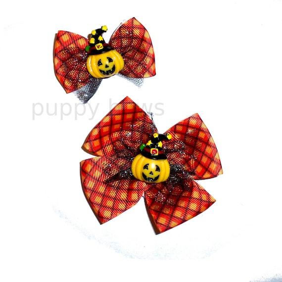 Halloween pumpkin pet hair bows  black orange plaid hair bow barrettes or bands or dog collar slide
