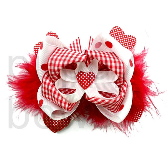 Puppy Bows ~ Heart dog bow Valentine's day collar slide flower red white  ~USA seller (DC2)