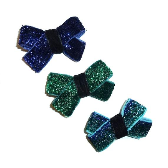 Puppy Bows ~  Dog bow for boys set of 3 velvet glitter hair bows blue green  ~Usa seller (fb221)