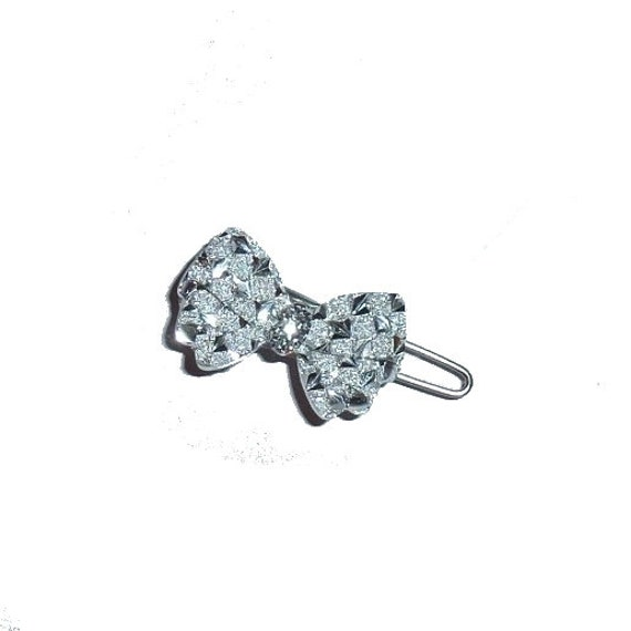 """Dog Bows glitter faceted bowknot tiny  3/4"""" pet hair bow silver barrette clip (TB4)"""