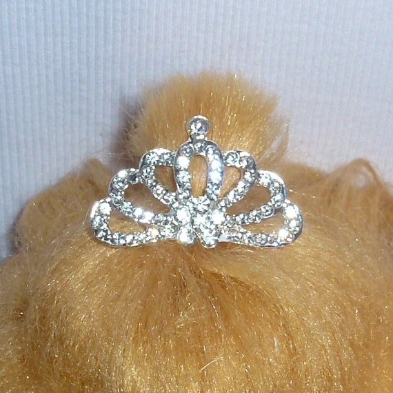 Puppy Bows ~Dog tiara crown with rhinestone crystals hair barrette #55-#63 ~USA seller