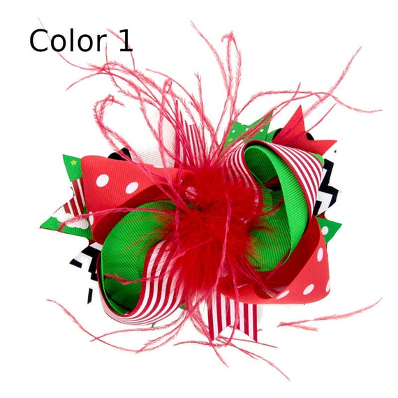 Puppy Bows ~ Dog collar slide bow Christmas light green/red or dark green/red Santa claus Rudolph  ~USA seller (DC5)