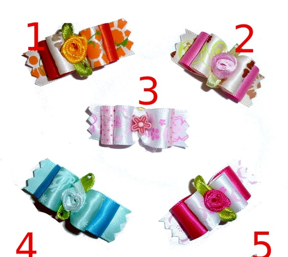 """Puppy Dog Bows ~ 7/8"""" flower garden  pet hair show bow barrettes or bands (FB39)"""