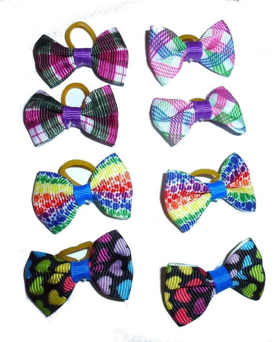 Puppy Bows ~  everyday 4 pairs dog groomers grooming pet hair bows girl colors (fb311)