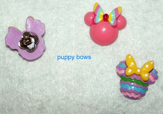 """Puppy Bows ~ Dog bow TINY 1"""" MINNIE mouse  Christmas Reindeer, Easter bunny pink butterfly pet hair barrette clip or latex bands ~ (fb75)"""