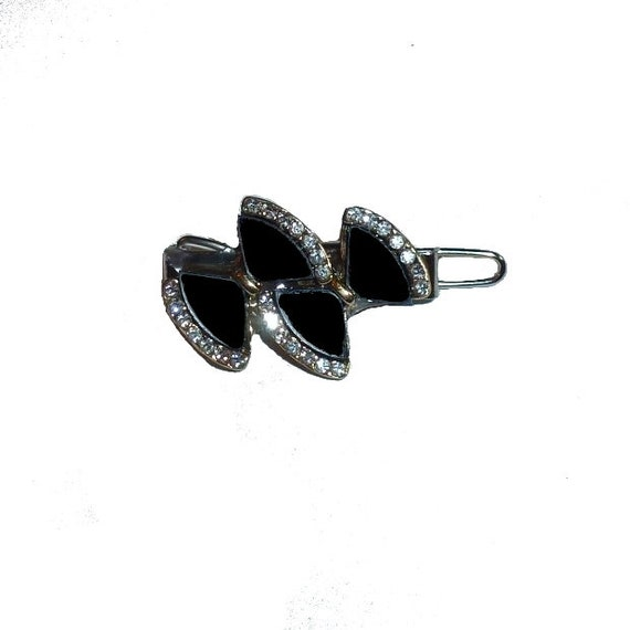 "Dog Bows bowknot crystal black bow rhinestone  tiny  3/4"" pet hair barrette clip (TB4)"