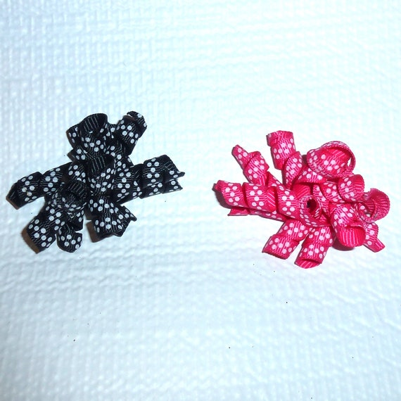 Puppy Bows ~Black/white polka dots or Pink/white dots korker dog pet  hair bowknot bow bands or barrette or collar slide  (fb118)~USA seller