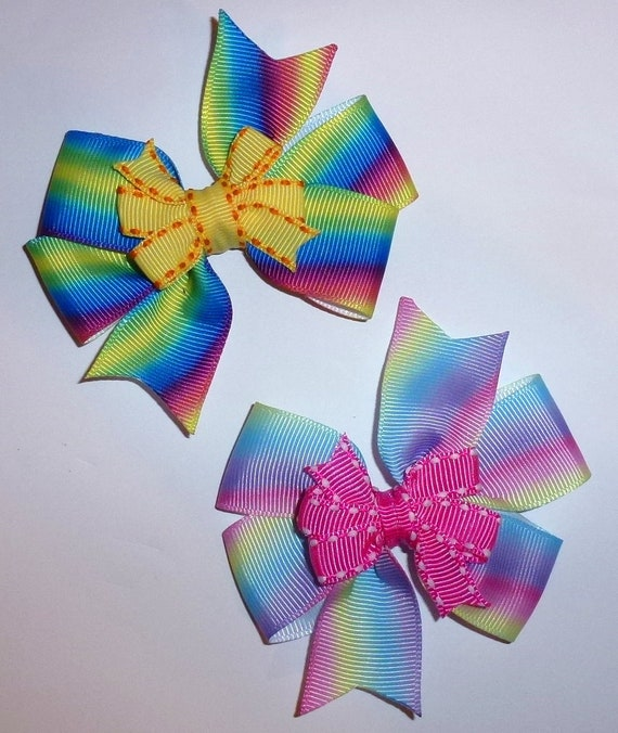 "Puppy Dog Bows ~ Windmill big dog bows 3.5"" rainbow pink/purple or blue/green pet hair bands or barrette  (fb111)"