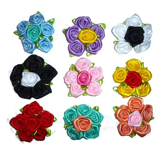 Puppy Bows ~ Dog collar slide bow large dog hair bows round rosette roses ~USA seller (dc1)