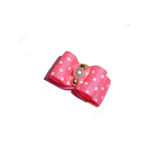 """Puppy bows ~ 5/8"""" neon coral pink dots pet hair show bow barrettes or bands (FB290c)"""