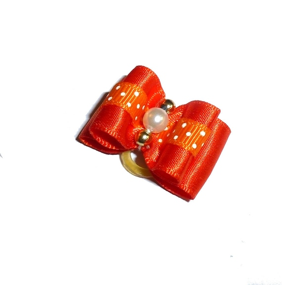"""Puppy Dog Bows ~ 7/8"""" orange pearl dots pet hair show bow barrettes or bands (FB304)"""