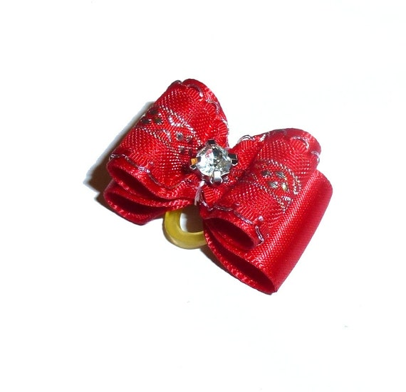 """Puppy Dog Bows ~ 7/8"""" red silver lace pet hair show bow barrettes or bands (FB304)"""