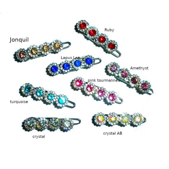 Puppy Bows ~ Wee super tiny gemstone clips for dogs bow pet barrette pink purple peach crystal rhinestone