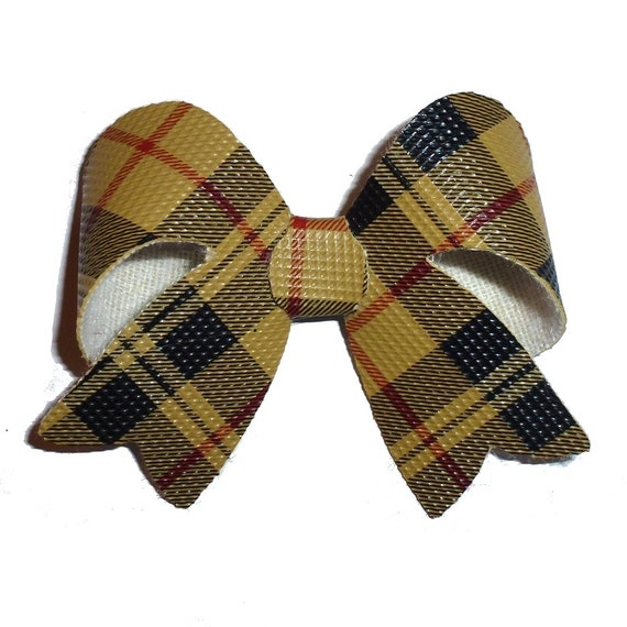 Puppy Bows ~  Black gold plaid  dog hair bow bands or clip