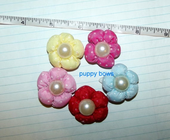 Puppy Bows ~ dog hair snap clips all assorted variety 5 different colors puffy flowers pink red  (fb36)