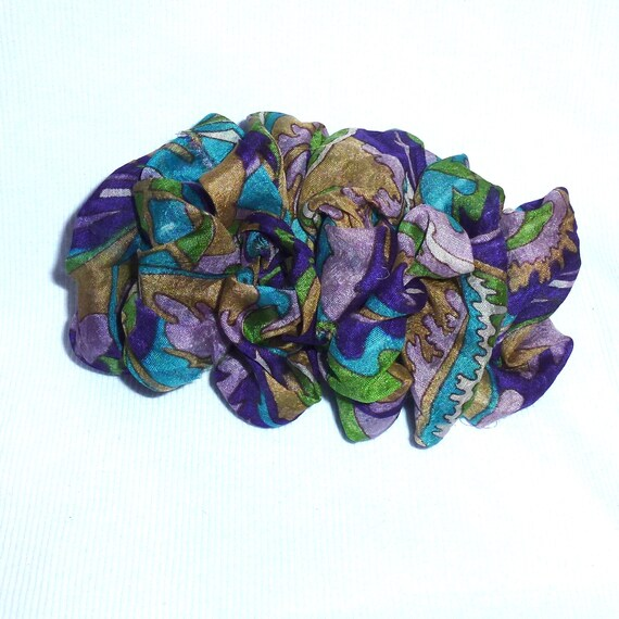 Becky Bows ~ OOAK ladies  Hand crafted SILK shabby chic  BIG fashion hair bow for ladies or Girls giant purple teal gold