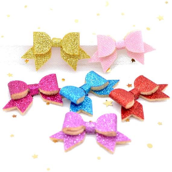 Puppy Bows ~ Glitter dog  bows  pet hair  barrette clip (fb67)
