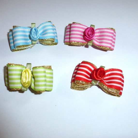 """Puppy Dog Bows ~ 5/8"""" rose stripes pet hair show bow barrettes or bands (FB181)"""