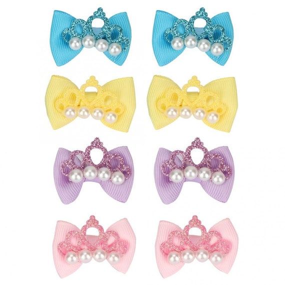 Puppy Bows ~ 4 tiny glitter crown dog pet hair bows pink yellow blue purple