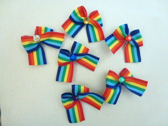 Puppy Bows ~ 6 rainbow jewels pet hair bow latex band ~Usa seller (fb89)
