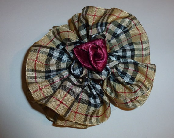 Becky Bows ~OOAK ROSETTE Barrette Hand crafted giant huge Scarf BIG hair bow Women or Girls khaki tartan plaid tan check