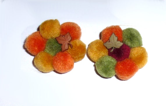 Puppy Dog Bows ~Pigtail Pair of fall Thanksgiving flowers pet hair bow barrettes or bands (fb1a)