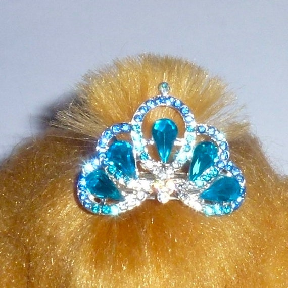 Puppy Bows ~ Stunning blue crystal rhinestone tiara crown for boy or girl dog bow  pet hair clip topknot barrette Style #30