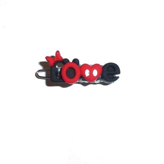 "Minnie Mickey ""Love"" 1"" Dog bow  alligator snap clip  barrette hair clips (fb191)"