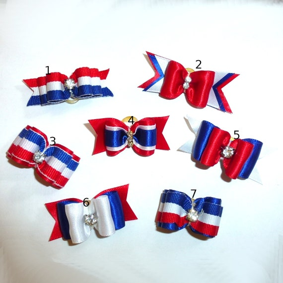 """Puppy Bows ~  4th of July dog show bows 7/8"""" 5/8"""" red white blue barrette or latex bands styles #1-7 ~USA seller"""
