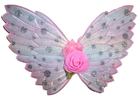 Puppy Bows ~ Angel fairy butterfly wings for dogs  quilted  embroidered pink dog costume feather