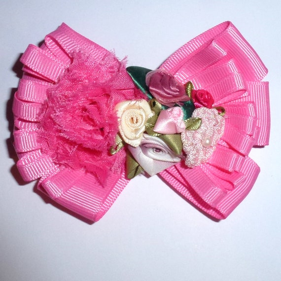 Puppy Bows ~ Dog collar slide bow pink multi flower loopy  ~USA seller (fb162)
