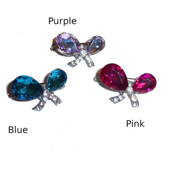 "Puppy Bows ~ TINY 1"" rhinestone crystal bowknot dog bow  pet hair clip topknot barrette 3 colors!! (rb80)"