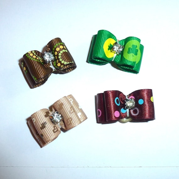 """Puppy Dog Bows ~ 5/8""""  bowknot SET OF 4! boys pet hair show bow barrettes or bands (FB164/30)"""