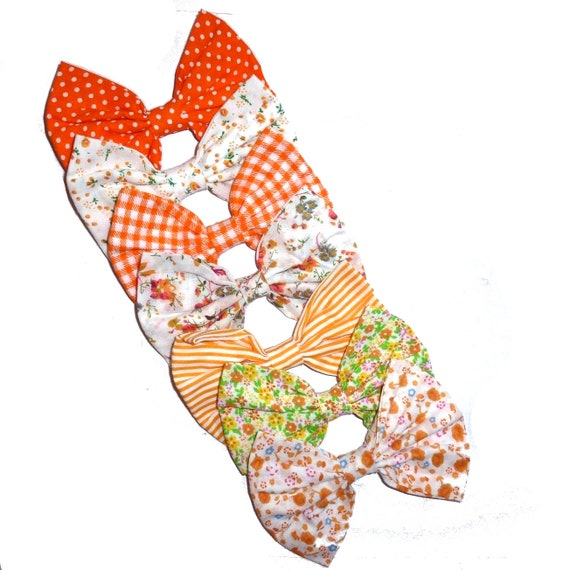 Puppy Bows ~ Orange linen bow tie dog collar slide bowtie accessory flower OR large dog hair bowknot  ~USA seller (DC10)