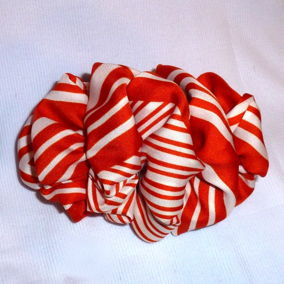 Becky Bows ~  Barrette scarf  Hand crafted over sized  hair bow for women or Girls orange stripes