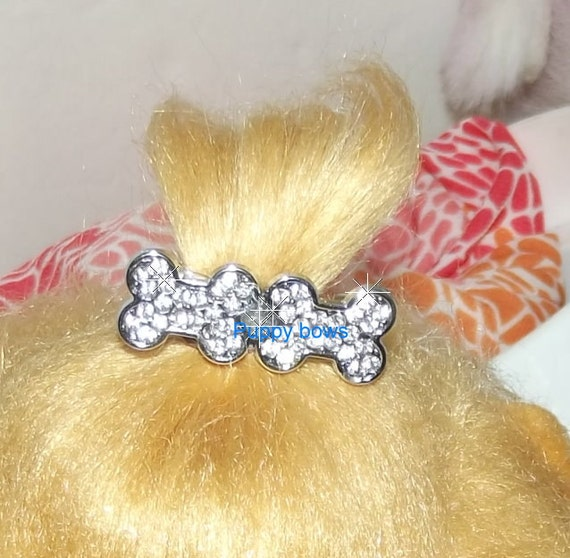Puppy Bows ~dog bone shaped #9 TIARA rhinestone pet hair clip barrette paw print BOWTIE shape~USA seller