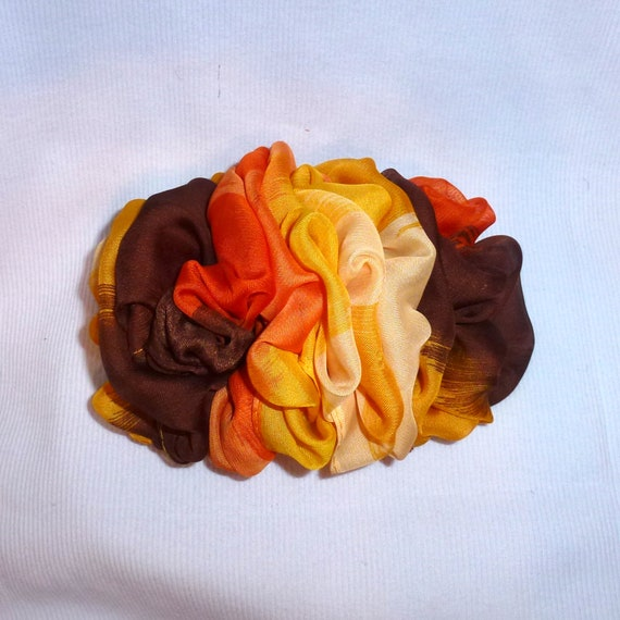 Becky Bows ~  Barrette  chiffon Hand crafted over sized  BIG hair bow Women or golden ombre