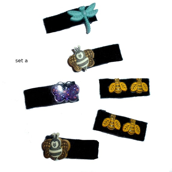 Puppy Bows set of 6 felt covered snap clips with  bumble bees (fb6)