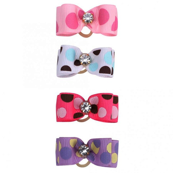 "Puppy Dog Bows ~ 5/8"" polka dots pink, purple or blue/black pet hair show bow barrettes or bands"