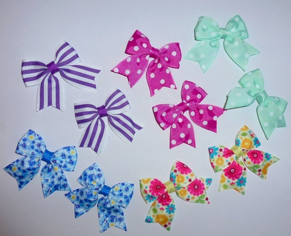 Puppy Bows ~ 10 dog bow for girls - pairs dog grooming pet hair bows - (218g)